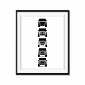 """Custom Car Posters Mercedes-Benz G-Class Generations Poster Print of the History and Evolution of the G-Wagen 24x36"""" Satin Ppr"""