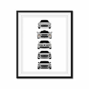 "Custom Car Posters Mercedes-Benz Generations Poster Print History and Evolution (300 SL, GTR, SLR, SLS, AMG GT) 8x10"" Satin Ppr"