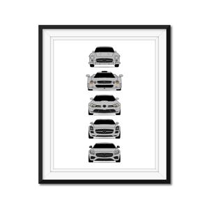 "Custom Car Posters Mercedes-Benz Generations Poster Print History and Evolution (300 SL, GTR, SLR, SLS, AMG GT) 24x36"" Satin Ppr"
