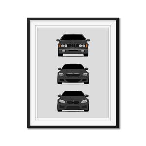 "Custom Car Posters BMW M6 History/Generations Poster (Dark Grey) 11x14"" Satin Ppr"