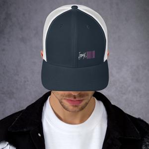 IyapoX Hussla Apparel IyapoX Retro Trucker Hat   Yupoong 6606 - 06252021 Navy/ White