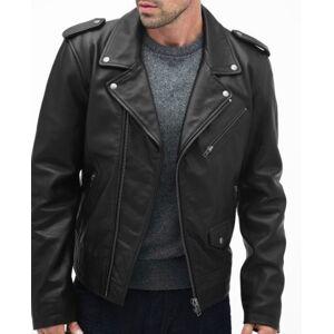 Rangoli Collection Handmade Men Simple Black Lambskin Motorcycle Jacket, Men's Biker Leather Jacket L