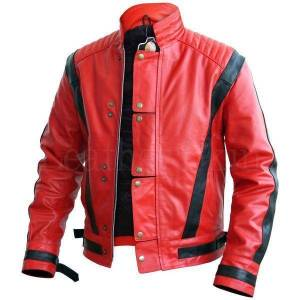 The Leather Souq Men's Stylish Red & Black Leather Jacket, Men's Fashion Biker Jacket 2XL