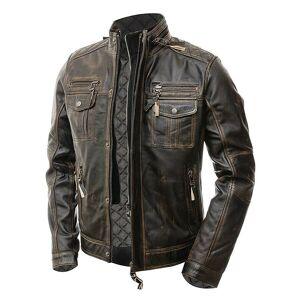 The Leather Souq Stylish Cafe Racer Vintage Men's Distressed Biker Brown Jacket M