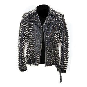 LeathersPlanet Men Silver Studded Custom Patches Long Spike Brando Belted Rocker Jacket Regular S