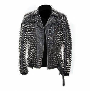LeathersPlanet Men Silver Studded Custom Patches Long Spike Brando Belted Rocker Jacket Regular 6XL
