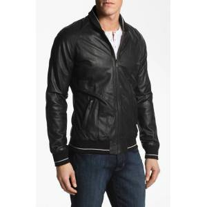 scorpianshoes Men Black Leather Jacket With Front Zipper Rib Collar Stretchable Waist and Sleeves