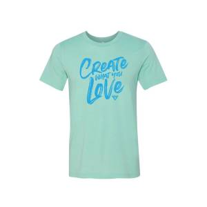 Just Heart Apparel Create what you Love mint graphic tee medium
