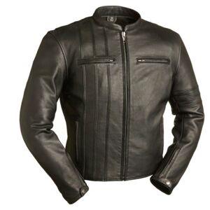 LeathersPlanet Fmc The Cafe A-Lister Men's Black Leather Jacket Fim264nocz 6XL