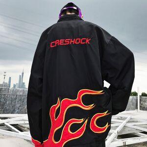 soldrelax GHETTO VINTAGE CRESHOCK FLAME WINDBREAKER JACKET IN BLACK XL