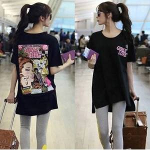 Ustyle GIRLS LOVE Poster pattern (Back) Print Hem Design Women's Black Cotton T-shirt 3 Sizes