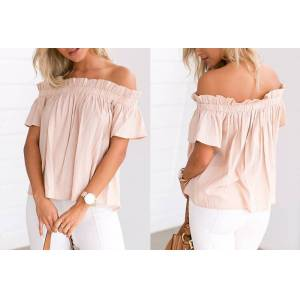 Outletpad Apricot Off Shoulder Puff Blouse S