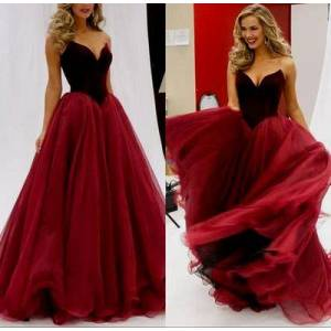 dreamdressy Elegant Strapless A-line Burgundy Long Prom Dress Formal Evening Dress US 14