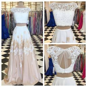 dreamdressy Gorgeous Two Piece Long Prom Dress with Open Back US 14