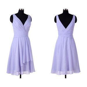 dreamdressy Simple A-line V Neck Short Chiffon Lavender Bridsmaid Dress Knee Length US 14
