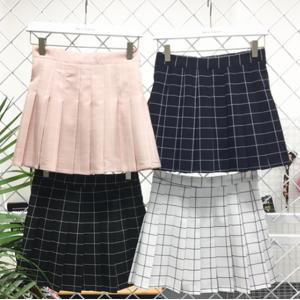 shopyukii Grid Tennis Skirt White L