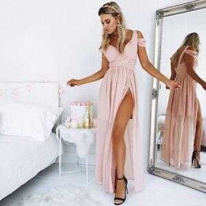 dreamdressy Eleagnt Pink Long Chiffon Prom Dress with Slit US 14