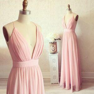 dreamdressy Gorgeous A-line Straps Pink Long Prom Dress Evening Dress US 14