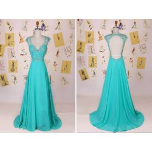 accshop DHL Pantone Turquoise Chiffon Cap Sleeves Prom Dress With Open Back