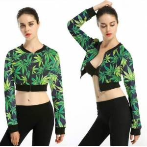 Ustyle Green Marijuana Cropped Top Sexy Jacket Slim Zipper Jacket  Small Crop Casual Jackets (02#)