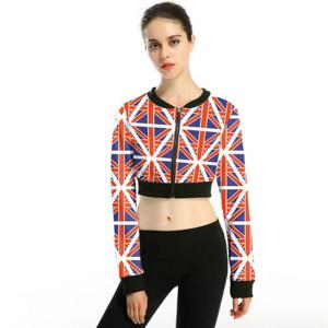 Ustyle Women's Cute Cropped Top Slim Zipper Jacket  Small Crop Casual Jackets