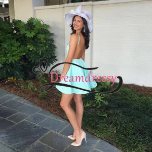 dreamdressy Simple Short Mint Green Party Dress with Backless US 14