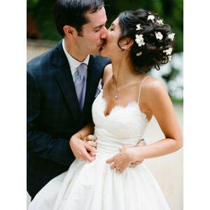 Dressmeet Gorgeous Ball Gown V Neck Spaghetti Straps White Satin Wedding Dress with Applique, Waist Pleat Wedding Dress US 14