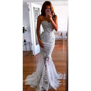 Dressmeet Charming Sweetheart White Mermaid Long Wedding Dress with Beaded Lace US 14