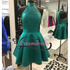 dreamdressy High Neck Short Green Homecoming Dress US 14