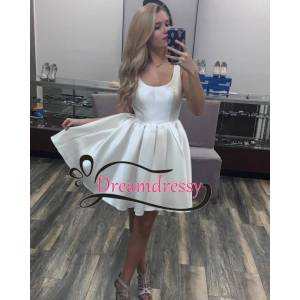 dreamdressy Simple Short White Homecoming Dress US 14