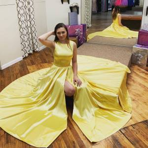 dreamdressy Simple Yellow Prom Dress with Slit US 14 - Yellow