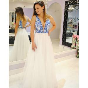 dreamdressy Elegant White and Blue Appliques Long Party Dress US 14