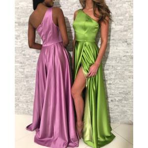 dreamdressy Simple One Shoulder Long Prom Dress Slit US 14 - Lemon Green