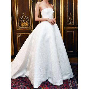 Dressmeet Classy A-Line Strapless Sweetheart Open Back White Satin Lace Long Wedding Dresses US 14