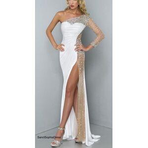 Sancta Sophia Sexy Slit Evening Dress,Fitted Prom Dress,Single Sleeve white Evening Dress Size 18W