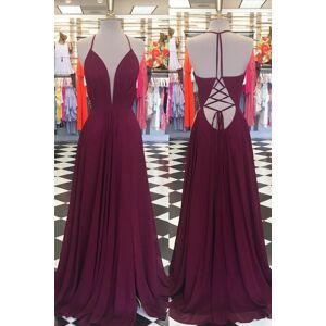 dreamdressy Halter Burgundy Long Chiffon Prom Dress Red - US 14