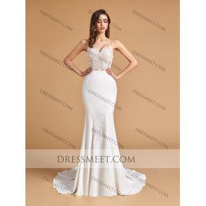 Dressmeet Elegant Mermaid V Neck Open Back Ivory Lace Wedding Dresses with Train US 14