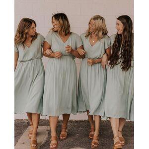 dressydances V Neck Tea Length Bridesmaid Dresses for Wedding Party US14