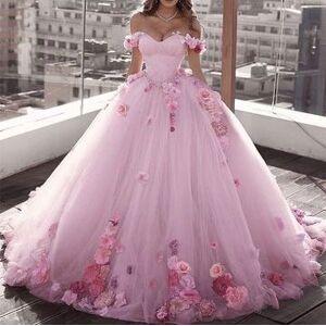 dressydances Off the Shoulder Pink Prom Dresses Princess Dress Pageant Gown US18W