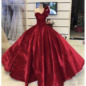 dressydances Burgundy One Shoulder Prom Dresses Pageant Gown Princess Dress US14