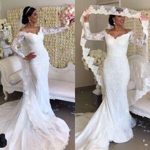 Dressmeet Off Shoulder Mermaid Lace Wedding Dress With Long Sleeves US 14