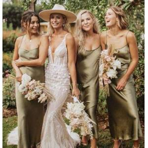 dressydances Spaghetti Straps Ankle Length Silk Bridesmaid Dresses US14