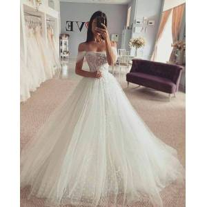 Dressmeet Fairy Ball Gown Off the Shoulder Tulle Lace Wedding Dresses US 14