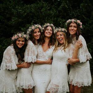 dressydances Boho Casual Short Lace Bridesmaid Dresses for Wedding Party US14W