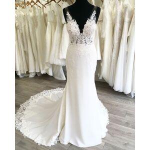 Dressmeet Fashion Mermaid V Neck Open Back White Wedding Dresses with Lace US 14