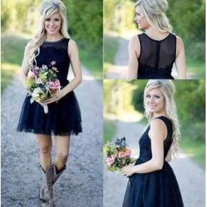 dressydances Country Short Bridesmaid Dresses with Lace US14
