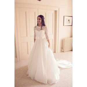Dressmeet Elegant 3/4 Sleeves Round Neck Lace Wedding Dresses US 14