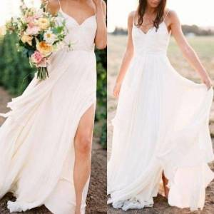 dressydances Spaghetti Straps Beach Slit Side Wedding Dresses Bridal Gown US14