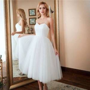 dressydances Tea Length Simple Wedding Dresses US14W