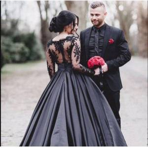 dressydances Black long Prom Dresses Quinceanera Gown with Sleeves US18W